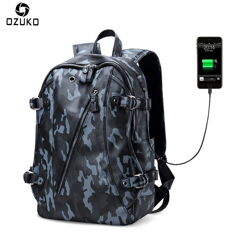 OZUKO New Style High Quality PU Leather Men's Backpacks Fashion Trend Laptop Men Bag Travel Mochila Casual Stuedent School Bags senkey style fashion genuine leather backpacks bag for men women shoulder bag teenagers casual travel school bags laptop mochila