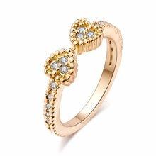 c71cbbe50177 Joyería de mujer de cristal austriaco Chapado en plata anillos de dedo  medio a la moda