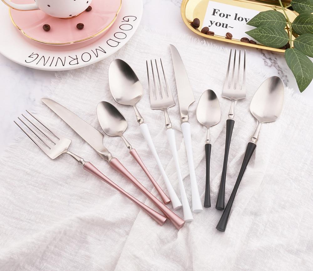 Роскошный Матовый набор посуды из нержавеющей стали 304 цвета: золотистый, серебристый, черный, белый, наборы посуды, Западный кухонный нож, в