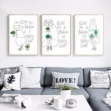 Nordic Canvas paintings simple HD pictures and posters for living room home docor cute pet green plant(China)