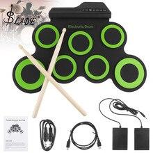 SLADE Портативный электронный цифровой USB 7 подушечек свернутый набор силиконовый зеленый Электрический барабанный комплект с барабанными палочками и поддерживающей педалью