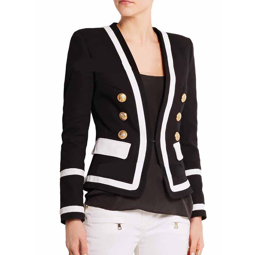 European American Designer Women Elegant Classic Black Blazers Double Breasted Buttons Short Casual Blazers HIGH QUALITY
