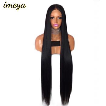 Imeya długie proste peruki typu front lace bez kleju peruki syntetyczne z naturalną linią włosów włókno termoodporne kobiet peruki 30 cali tanie i dobre opinie FANXITON Wysokiej Temperatury Włókna Swiss koronki 150 Średnia wielkość Średni brąz 1 sztuka tylko Lace Front Wigs