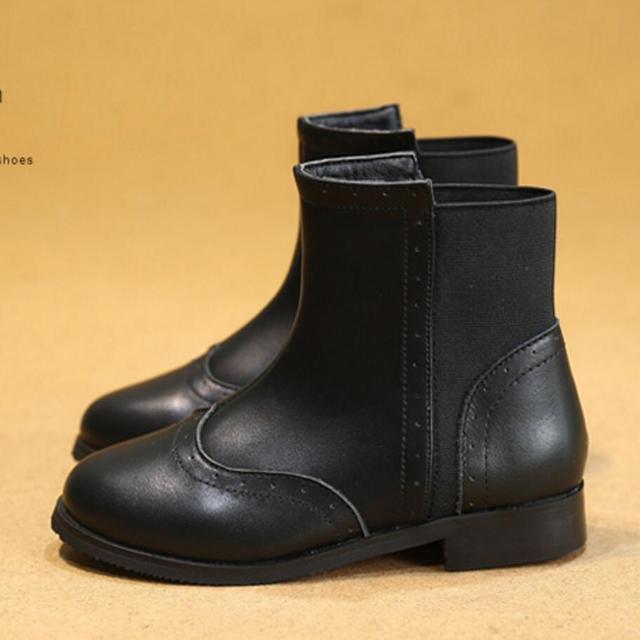 Niñas botas de cuero genuino martin botas versión coreana de los niños, además de terciopelo de algodón de invierno botas de 2016 niños de las muchachas shoes