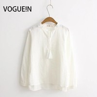 VOGUE N New Womens Solid White Tassels Long Sleeve Pullover Blouse Top Shirt Wholesale Size SML
