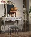Estilo europeo del niño cómoda, antiguo tocador tocador con espejo de tocador de madera de oro