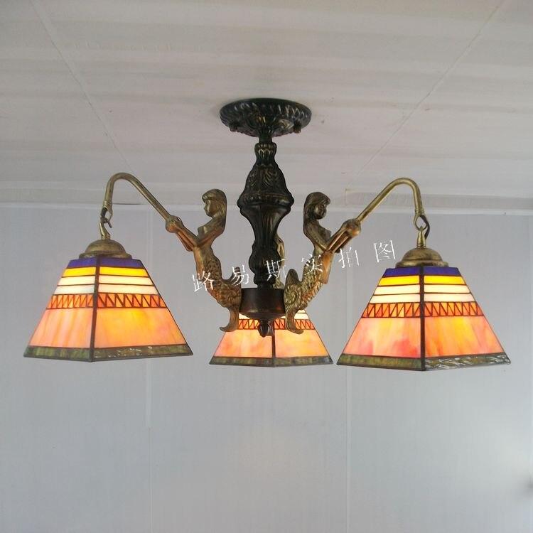 Livraison gratuite 3 simple européenne sirène pyramide plafond Tiffany éclairage chambre enfant étude espagnol rétro verre lampes