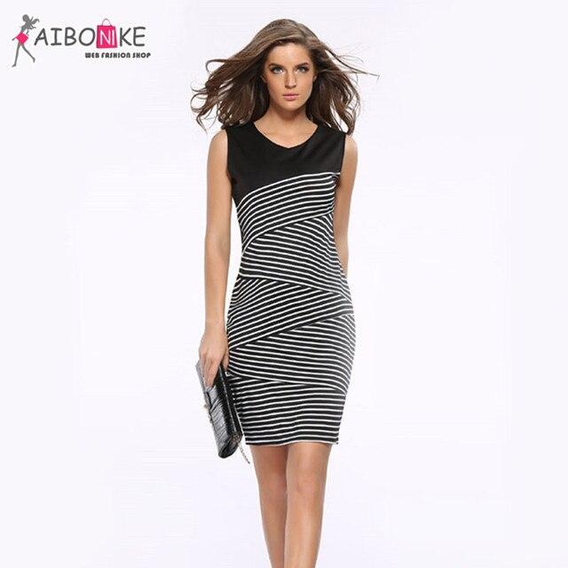 c708f80c2dd45 White Black Striped Patchwork Office Dress For Woman 2017 Sleeveless Work Dresses  Women Plus Size Back Zip Pencil Dress v Neck