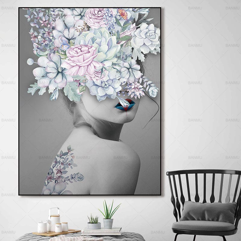 Beautiful flower canvas lipstick poster
