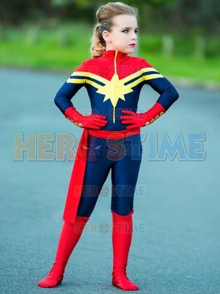 Free Shipping Captain Marvel Kids Costume Girls Superhero Ms Marvel Carol Danvers Cosplay Bodysuit Jumpsuit Adult