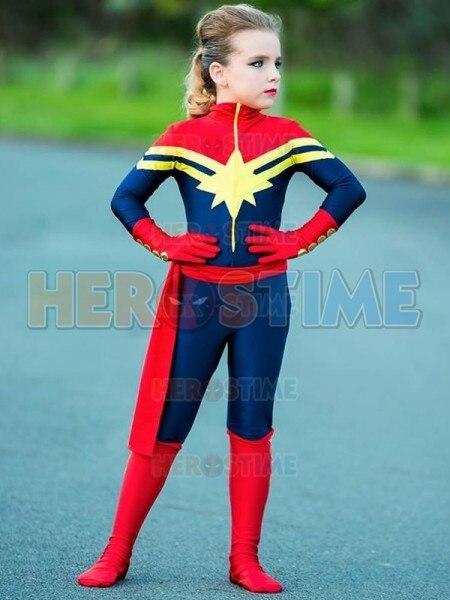 Бесплатная доставка Капитан Марвел дети костюм девочек супергерой MS Marvel Кэрол Дэнверс Косплэй Комбинезон взрослых/детей/пользовательские