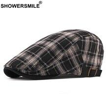 SHOWERSMILE Flat Cap For Men Black Plaid Male Beret Hat British Style Cotton 2019 New Adjustable Retro Driver