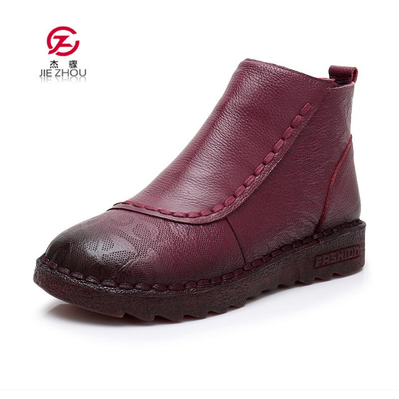 купить Hot Sale Women Boots 2018 New Fashion Shoes Woman Genuine Leather Purple Ankle Boots Winter Warm Plush Flat Boots zapatos mujer по цене 2140.56 рублей
