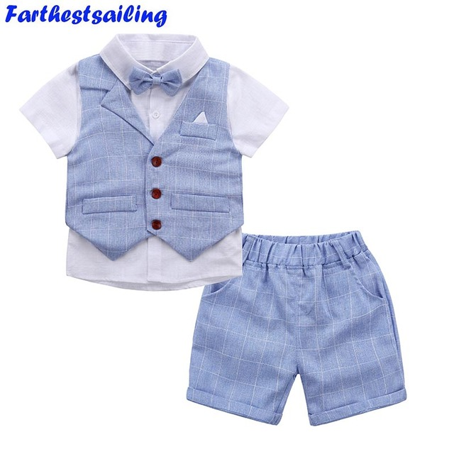 Baby Boys Clothing Sets 2018 New Summer Children Formal Wear Short Shirt + Plaid Waist Coat + Shorts Kids 3PC Suits Baby Clothes