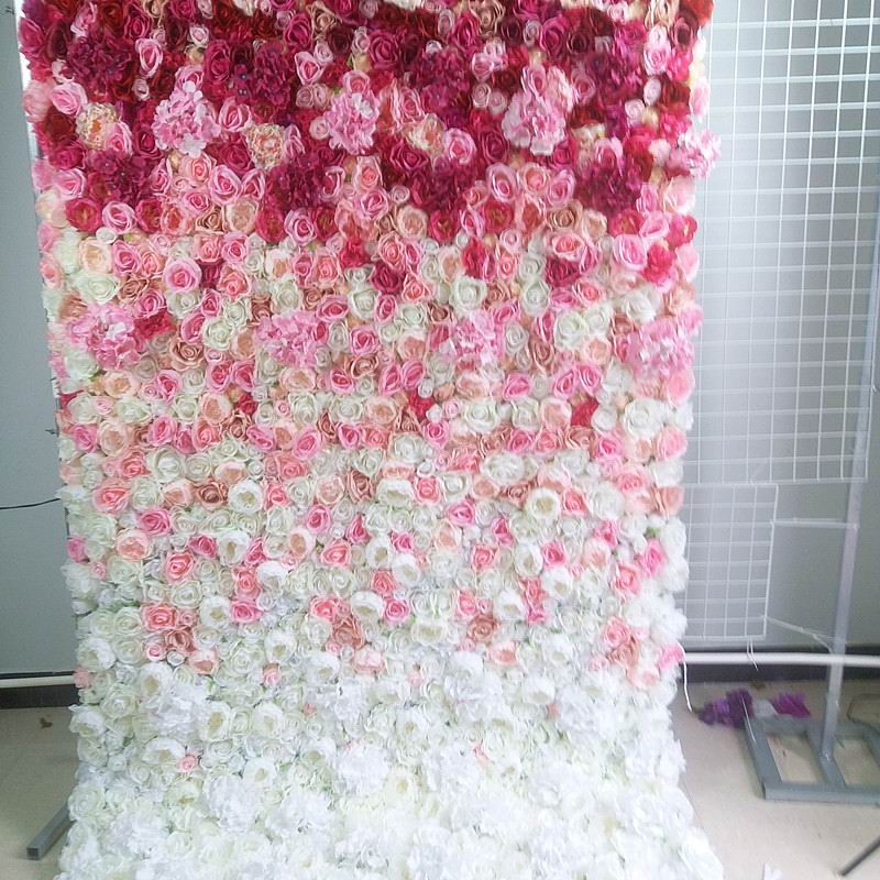 Spr Roll Up Wedding Flower Wall Stage Backdrop Pink Ombre Style Flower Wall Panel Artificial Flower Table Runner Arch Floral Artificial Dried Flowers Aliexpress