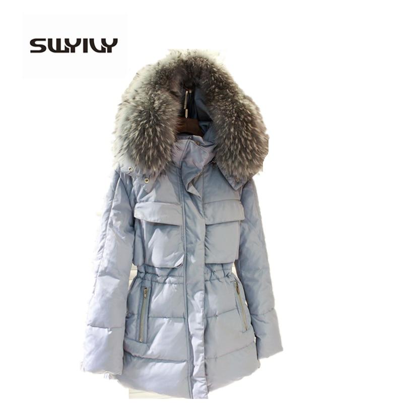 Warm Winter Coat Jacket Woman Big Fur Collar Hooded Down Parkas 6 Colors Size M 3XL