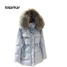 Теплое Зимнее Пальто Куртка Женщина, большой Меховой Воротник С Капюшоном Вниз Парки 6 Цветов Размер M-3XL Chaquetas Mujer Casaco