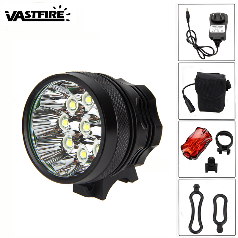Aluminum <font><b>Bike</b></font> Lamp <font><b>15000</b></font> <font><b>Lumen</b></font> 9x XML U2 LED Bicycle <font><b>Light</b></font> +12000Ah Battery+Headband+AC Charger+ Safety Caution Tail <font><b>Light</b></font> image
