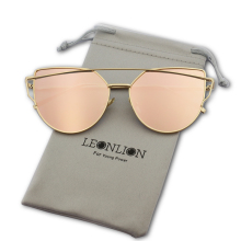 LeonLion Brand Designer Cat eye Sunglasses Women Vintage Metal Reflective Glasses For Women Mirror