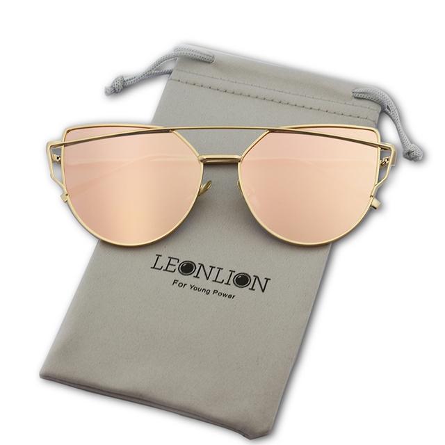 LeonLion Brand Designer Cat eye Sunglasses Women Vintage Metal Reflective Glasses For Women Mirror