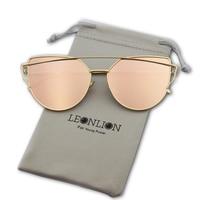 LeonLion Brand Designer Vintage Sunglasses Women Metal Reflective Cat eye Glasses For Women Mirror Retro oculos de sol feminina
