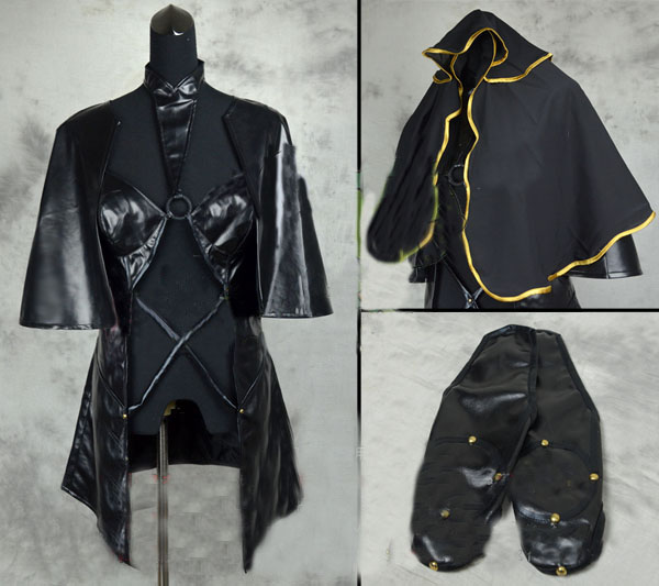 Fate Grand Order FGO Scathach Fighting Red Black Cosplay Costume Jumpsuits Cloak