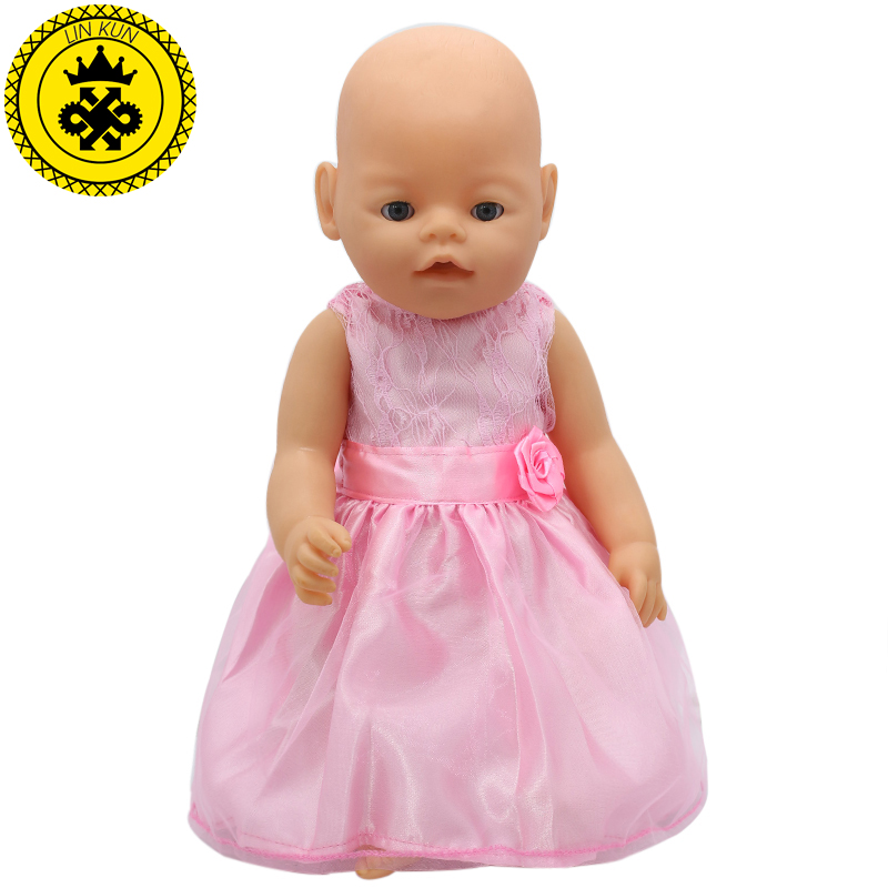 Sweet Baby Doll Dress Clothes fit 43cm Baby  or 17inch Doll Accessories Party Outside Child 017