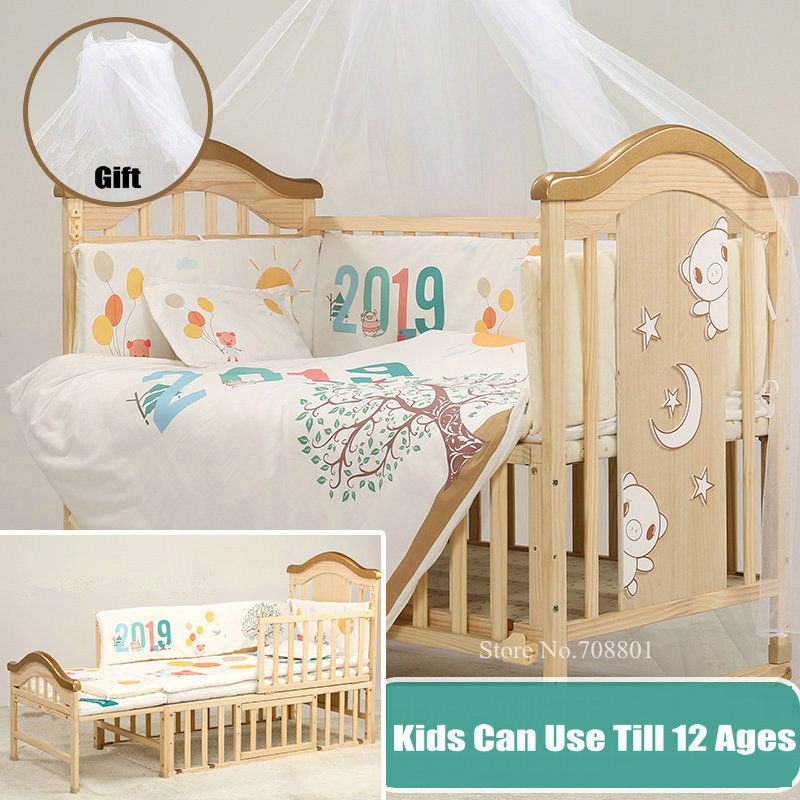 Big Size Kids Bed With Mosquito Net Gift, Pine Wood Baby Crib Kids Can Use Till 12 Ages, Baby Bed Can Extend Can Be Rocking Bed