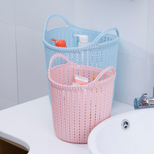 цены на New Arrival Round Weaving Rattan Office Basket Plastic Bathroom Shower Storage Basket Debris Storage Organizer With Handle  в интернет-магазинах