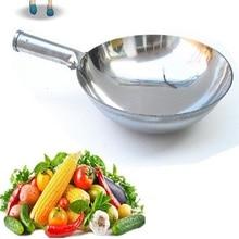 Envío libre 34/36/38/40 cm de acero inoxidable sola chabolas wok suministros sin recubrimiento brillante