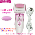 Rose Gold waterproof pedicure electric tools Foot Care Exfoliating Foot Care Tool 2pcs roller pedicure heads For scholls KIMISKY