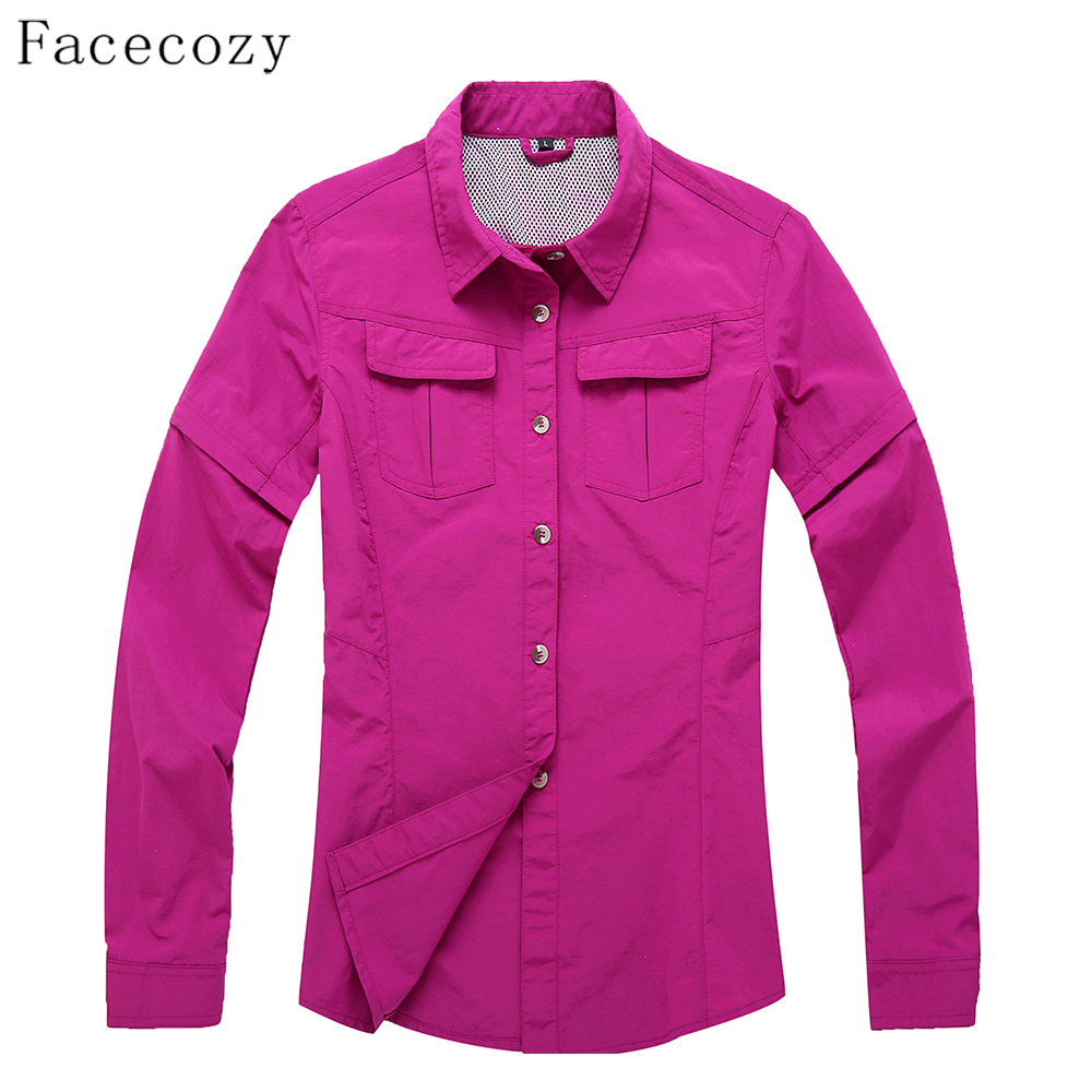 Facecozy 2017 <font><b>Women</b></font> Outdoor Hiking & Camping Quick Dry Jackt Fishing&<font><b>Hunting</b></font> Clothes Breathable Thin Shirt Pluse Size 3XL