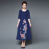 Summer, the new 2018 large size ladies retro heavy embroidery embroidery wedding banquet chiffon dress aliexpress uk