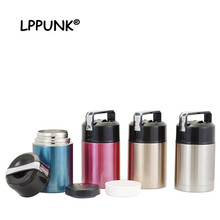 NEW 1L Vacuum Insulated Lunch Box Keep Food Warm braised pot Leakproof Containers Stainless Steel Thermal jar handle