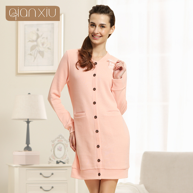 Fashion Cardigan Home Dress For Women Long Sleepshirts Knitted Cotton Nightdress Pure Color Buttons Home Wear 1531