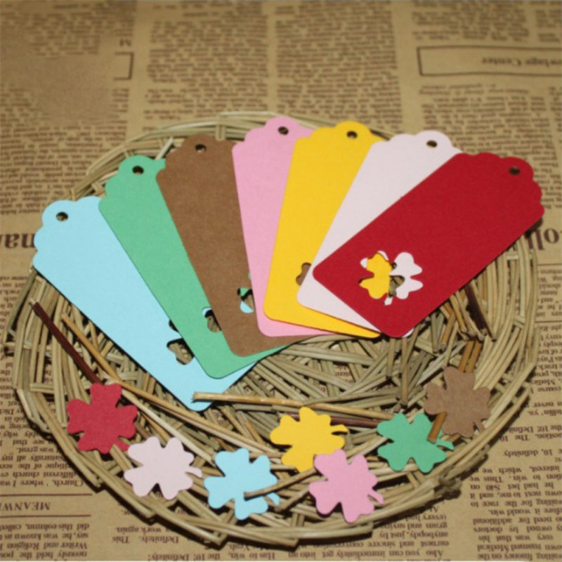 100Pcs Colorful DIY Kraft Paper Tags Rectangle Clover Lucky Label Luggage Wedding Party Note Blank Price Hang Tag Kraft Hot Sale