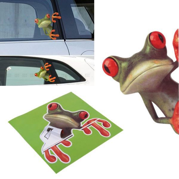 Hot 3D Frog Cartoon Personality Car stickers Truck Front Window Windshield Wall Door Funny Vinyl Decal Sticker Car Accessories horse riding sticker for car rear windshield truck suv bumper auto door laptop kayak canoe art wall die cut vinyl decal 8 colors
