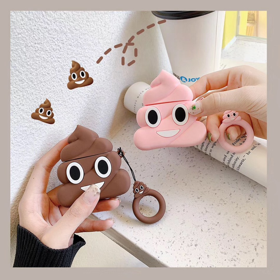 For Apple AirPods Case 3D Cute Funny Emoji Poop Earphone Case For Airpods 2/i10/i11/i12 TWS Protect Cover With Finger Ring Strap