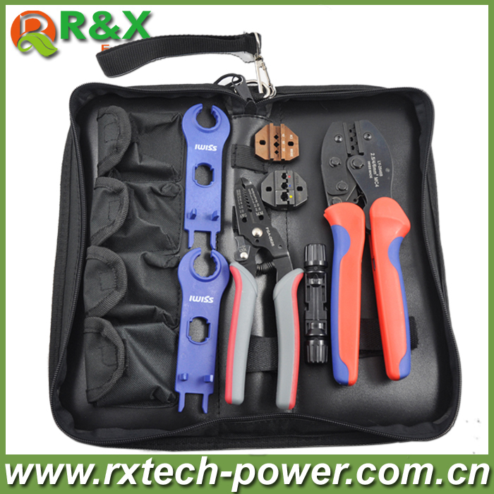 Solar crimping tool kits for 2.5/4/6mm2 solar cable, with crimping/cutting tools/spanner/MC4 solar connector, PV tool kits.