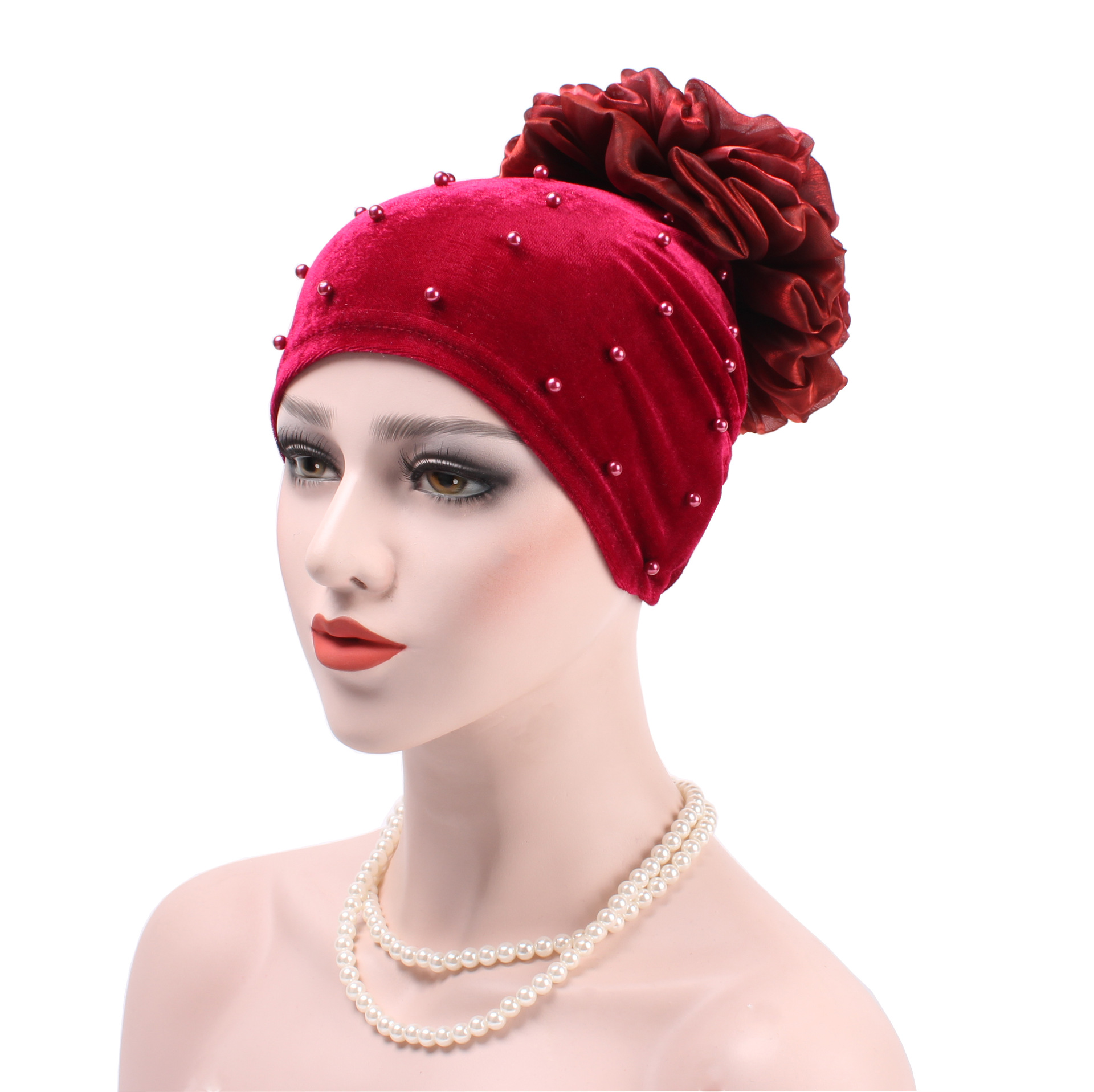 New  Muslim Dress Women Baotou Hat Pure Color Cotton Velveteen Nail Pearl Hat With Flowers After The Hood Cap Turban Hijab