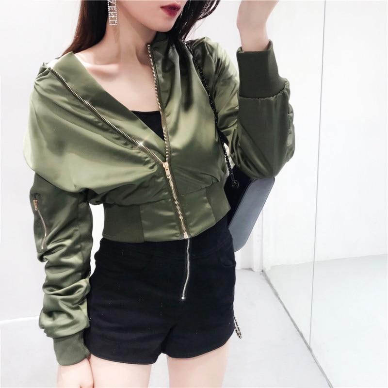 Basic Green Black Metallic Bomber Jacket Coat Women Satin