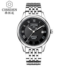 CISSDEN Luxury brand Men s mechanical wrist watch 100m waterproof calendar 316L solid steel