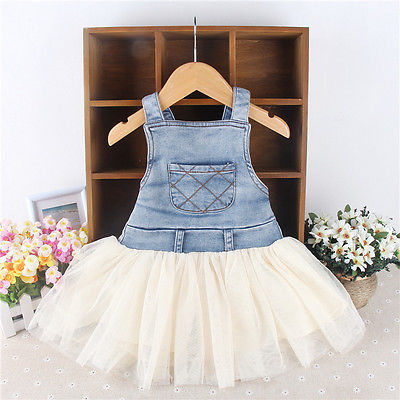Denim Kids Baby Girls Clothes Dress Summer Toddler Overalls Frilly Patchwork Sleeveless DenimTutu Ball Dresses 6M-4Y Outfits distrressed girls dress summer 2016 new arrival pink ripped denim dress for kids sleeveless solid casual girls overalls dress