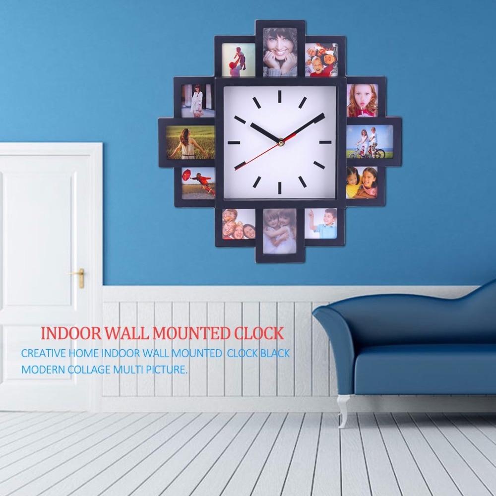 Unique DIY 12 Photo Frame Design Wall Clock Pretty Home Shop Decorative  Clock Indoor Modern Design Wall Mounted Clock In Wall Clocks From Home U0026  Garden On ...