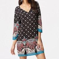 Lily Rosie Girl Elegant Black Boho Floral Print Women Mini Dress Deep V Neck Ruffles Summer