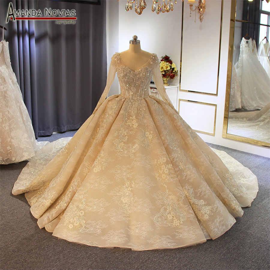 Gelinlik 2020 Luxury Champagne Color Wedding Dress With Long