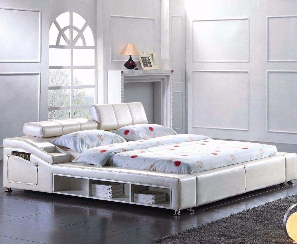 moderno de cuero suave cama muebles de dormitorio de matrimonio hecho en china