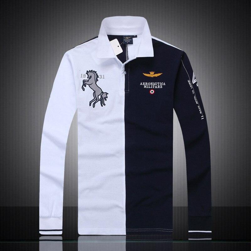 2018 Neue Mode Casual Marke Herren Sommer 100% Baumwolle Langarm Air Force One Polo Hemd Boutique Stickerei Männer Tragen