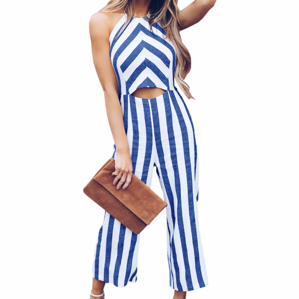 Women Backless Halter Summer Jumpsuits Shorts Hollow Out Romper Femme Sleeveless Beach Striped Overalls Woman Plus Size GV121