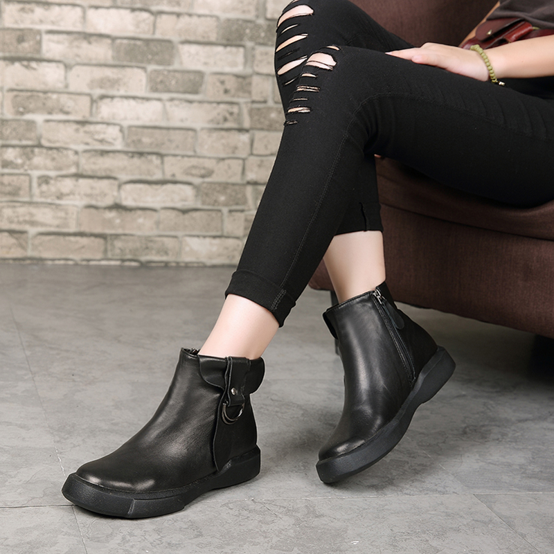Genuine Leather Women Boots 4 CM Low Heels Autumn 2018 Martin Boots For Women Leather Shoes Handmade Women Martin Boots Winter